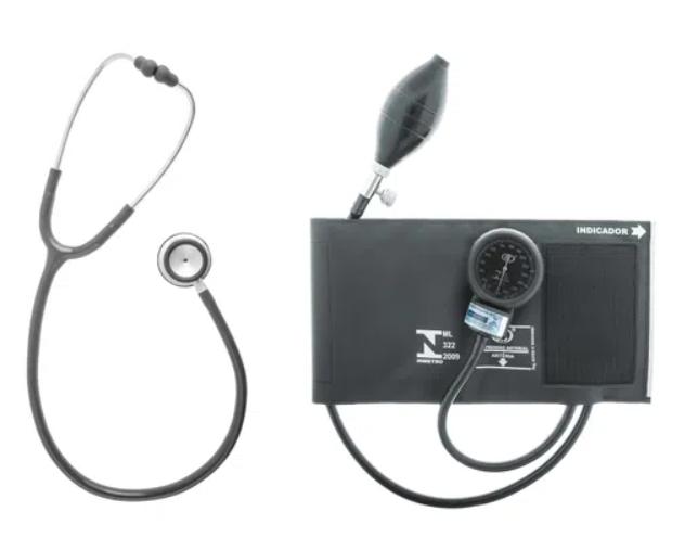 kit estetoscópio e aparelho de pressão manual